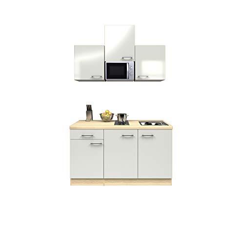 MMR Singleküche DERRY - Küche mit E-Geräten - 2er Elektro-Kochfeld - Mikrowelle - 9-teilig - Breite 150 cm - Perlmutt Weiß