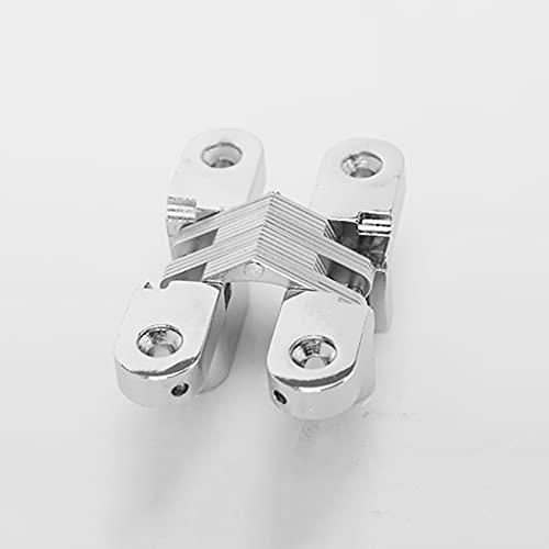 ZYING Bisagra Oculta de 180 Grados para Armario de gabinete Caja de Madera Montado en Tornillo, Acabado Cepillado de Acero Inoxidable, 2 PCS (Color : Silver)