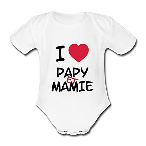 Spreadshirt I Love Papy Et Mamie Body Bébé Bio Manches Courtes, 3-6 Mois, Blanc