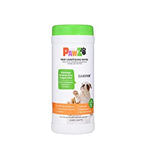 SaniPaw Dog Paw Wipes (60 Wipes) | Safe Antibacterial Dog Paw Wipes | Deodorizing Dog Wipes | Dog Paw Cleaner and All Over Wipes | Pet Paw Cleaner & Grooming Wipes