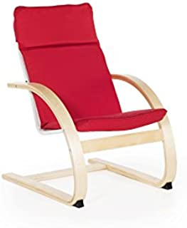 Guidecraft Kiddie Rocker - Red Cushioned Reading Chair for Kids, Toddlers Preschool Library Furniture