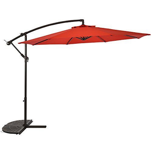 Sun-Ray 811045 10' Round Cantilever 8-Rib Offset Solar Patio Umbrella, 24 LED Lights, Crank with Adjustable Tilt, Cross Base, Aluminum Frame, Scarlet/Red