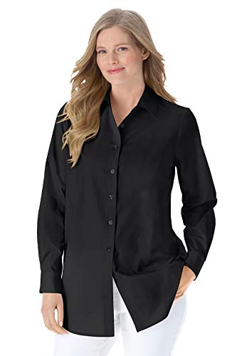 Woman Within Women's Plus Size Perfect Long-Sleeve Button Down Shirt - 1X, Black