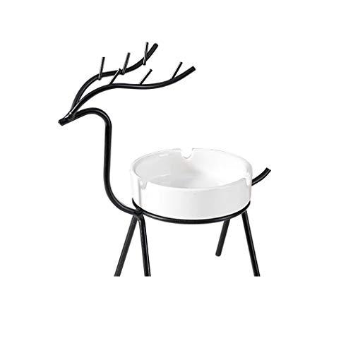 QIAOLI Cenicero Fawn Cenicero decorativo nórdico de 7.1 pulgadas, metal de cerámica hecho a mano, extraíble, simple para el hogar, sala de estar, oficina, decoración del hogar (color: negro)