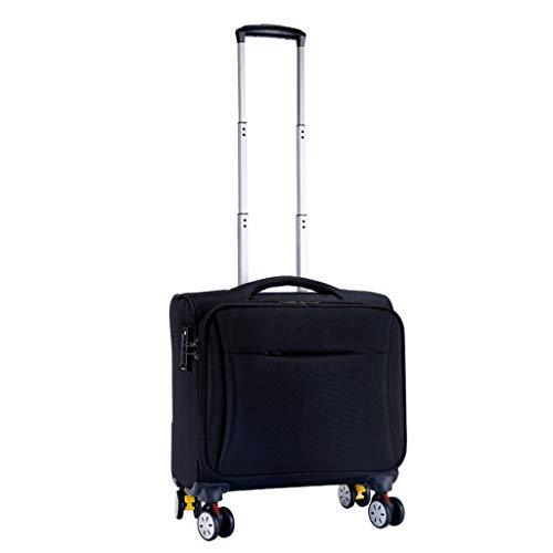 GSHWJS Fashion Oxford Brake Luggage Universal Wheel Waterproof trolley (Color : Black, Size : 16inch)