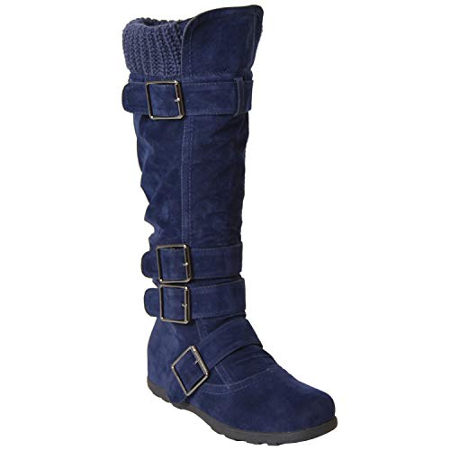 Generation Y Women's Knee-High Flat Sweater Knitted Mid-Calf Boots Cuff Buckles Rubber Sole Navy Suede Size 11