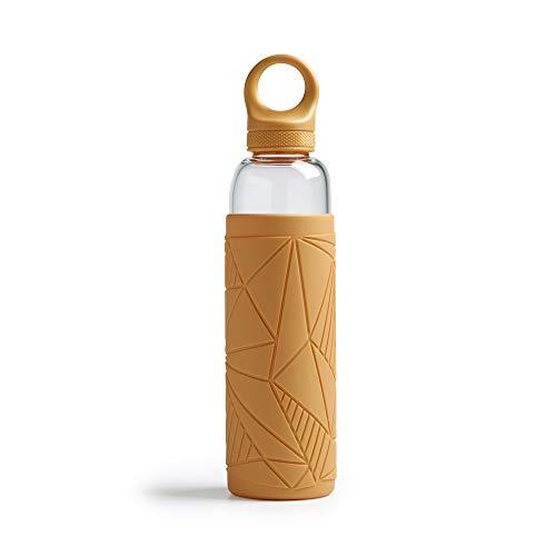 Botella de agua Libbey – Botella de vidrio – 550ml / 55cl – Amarillo - Moderno - Sostenible – A prueba de choques