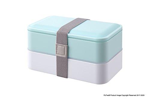 PuTwo Bento Box Fiambreras Bento Caja Bento Caja Almuerzo de 2 niveles con juego de cubiertos Box Lunch Microondas, Congelador, Apto para lavavajillas - 1200 ml, Azul Pastel