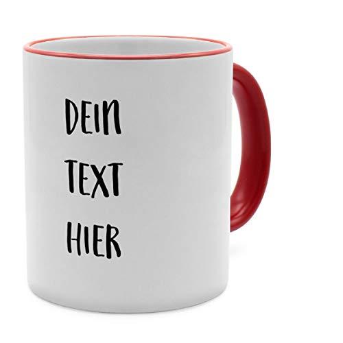 PhotoFancy Tasse mit Spruch selbst gestalten – Personalisierte Tasse mit Text beschriften (Rot)