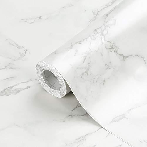 KINLO Küchenrückwand folie Matt Marmor Möbelfolie Aufkleber aus PVC Küchenschränke 0.61 x 5 m Selbstklebende Küchenfolie Dekofolie Schrank Folie Wasserfest für Küche und Bad