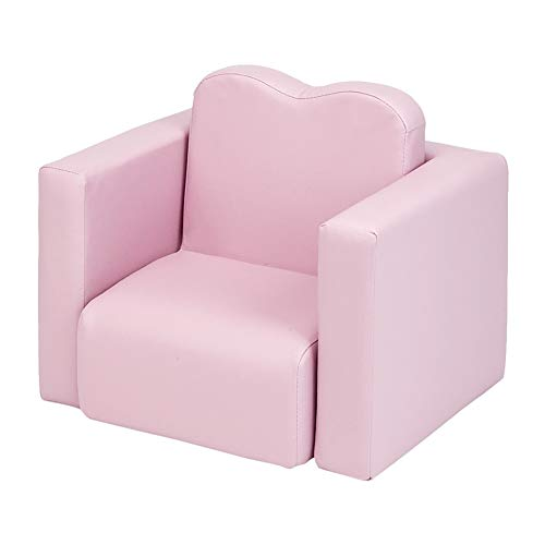 Kids Sofa, 2-in-1 Multifunctional Play Table and Chair Set, Toddler Couch Armrest Chair with Wood Frame and PU Leather, Kids Furniture Armchair for Children Boys Girls in Bedroom Living Room, Pink