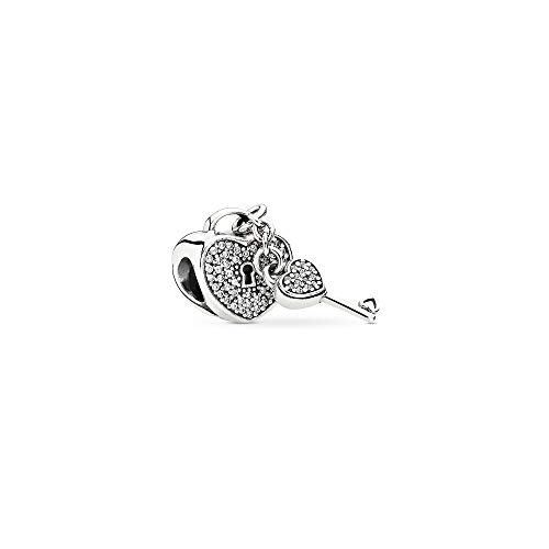 Pandora Jewelry Pave Padlock Heart and Key Cubic Zirconia Charm in Sterling Silver