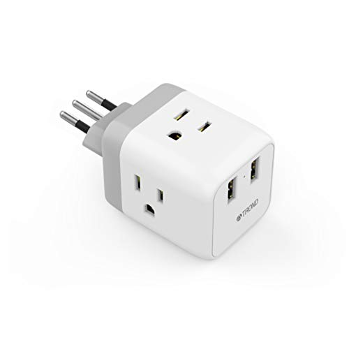 Italy Plug Adapter, TROND Safe Grounded Travel Power Adapter with 2 USB Ports, 3 American Outlets, for USA to Italy Chile Eritrea Uruguay, Type L