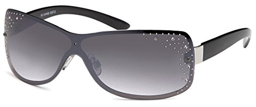 FEINZWIRN Glamour - Sonnenbrille Monoscheibe mit Strasssteinen, 2 versch. Farben, Designer -Sonnenbrille (schwarz-Verlauf)