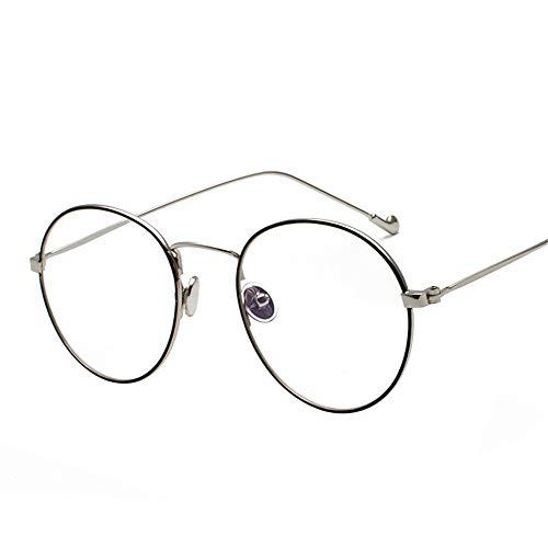 SenDi Occhiali da sole - Occhiale da sole Blu-ray con montatura per occhiali, specchio piatto per computer, cornice argento cerchio nero