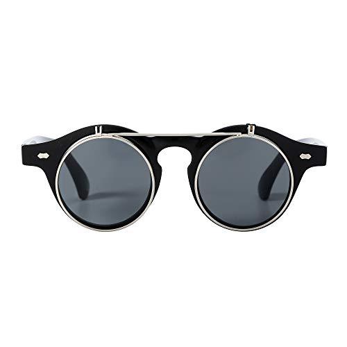 Sunglasses Men's Ladies Flip Up Lens U400 Protection Vintage Classic Steampunk Look (A1 Black) steampunk buy now online