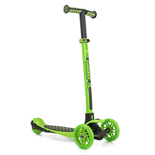 Yvolution Y Glider XL | 3 Wheeled Scooter for Boys and Girls Age 3-8 Years | Extra-Wide Deck (Green)