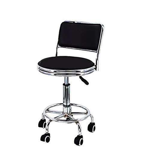 N / C Height Adjustable Multi-purpose Tall Rolling Swivel Salon Stool Chair, with Thick Back Cushion/wheels and Foot Ring - for Office Home Kitchen Counter