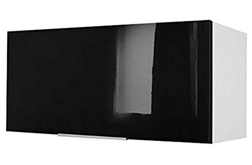 Berlioz Creations CH8HN Meuble Haut de Cuisine sur-Hotte Noir Haute Brillance 80 x 34 x 35 cm, Fabrication 100% française