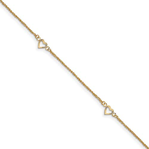 14k Yellow Gold Hearts 9 Inch Plus 1 Adjustable Chain Size Extender Anklet Ankle Beach Bracelet Fine Jewelry For Women Gifts For Her