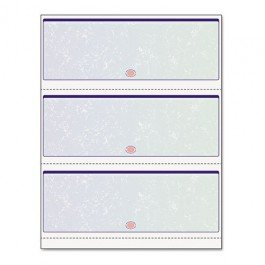 Blank Computer Checks for Laser & Ink Jet Printers, Pack of 100 Sheets (3 Per Page Blue/Green Prismatic)