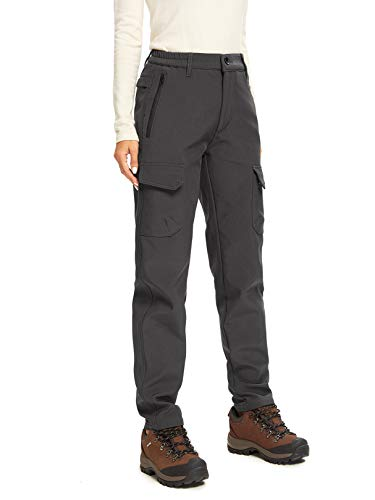 Women's Hiking Snow Sports Insulated Fleece Lined Leggings Stretch Cargo Pants 2163,Grey,30