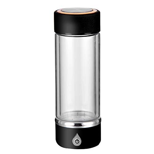 AUNLPB Botella de Agua de hidrógeno portátil de 420 ml a 3 Minutos, Taza de Vidrio, Botella de Agua hidrogenada generador de Agua ionizada Recargable,Black