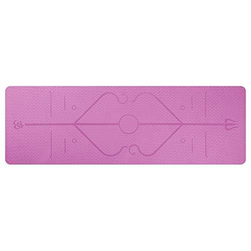 chebao, TPE Eco Friendly antideslizante Fitness Fitness Esterilla de ejercicio, TPE Fitness Yoga Mat antideslizante Sports Gym Pads con línea de posición (rosa)