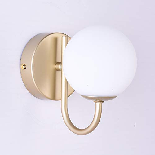 HARPER LIVING 1xG9 Up Wall Light and Sconce, Gold Finish, Globe Shaped Shade, Suitable for LED Upgrade, Ideal for Bedroom, Living Room, Hallway, Hotel, B&B