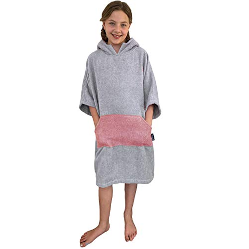 HOMELEVEL Poncho de surf para niños, 100 % algodón, poncho de baño, poncho de playa, toalla de mano, capa de terciopelo rizado, toalla de baño con capucha gris claro/gris oscuro. 6-9 años