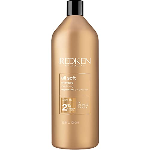 Redken All Soft Shampoo | For Dry/Brittle Hair | Provides Intense Softness and Shine | With Argan Oil | 33.8 Fl Oz | Packaging May Vary