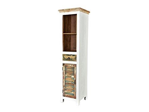 Woodkings® Hochschrank Perth weiß, recyceltes Massivholz bunt antik, Regal Bücherregal Wohnmöbel Vintage, Design Badschrank Badmöbel Holzmöbel