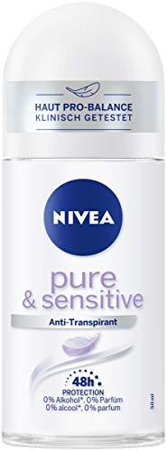 Nivea Pure & Sensitive deodorantroller (50 ml), anti-transpirant roll on geschikt voor gevoelige huid, 48 uur deodorant met antibacteriële bescherming