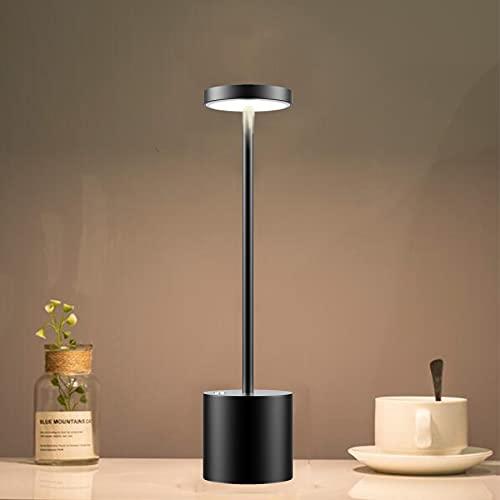 Lámpara de mesa inalámbrica, batería recargable de 6000 mAh, 2 niveles de ajuste de brillo,...