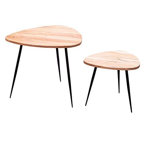 WOHNLING 2er Set Satztisch Akazie Massivholz/Metall Couchtisch Klein | Design Beistelltisch Set Zwei Holz-Tische | Wohnzimmertisch Tisch Metallgestell