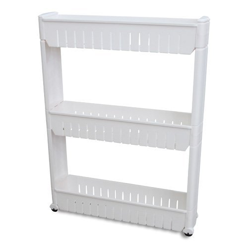 Ideaworks Slide Out Storage Tower White, 3-Tier