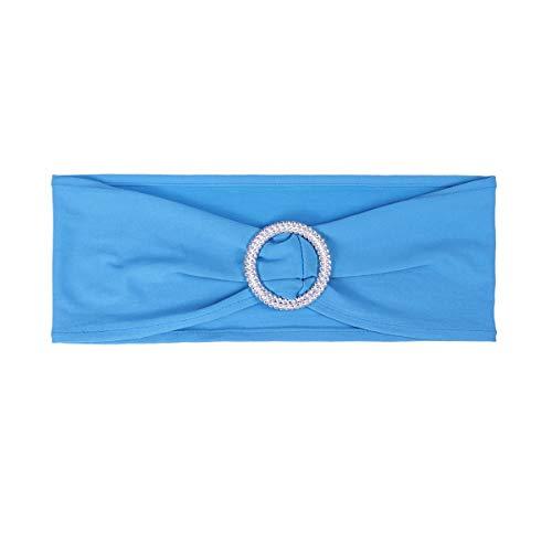 Bestonzon - 1 pièce - Écharpe de chaise élastique en élasthanne pour mariage avec boucle, nœuds pour décoration de mariage de fiançailles (bleu ciel)