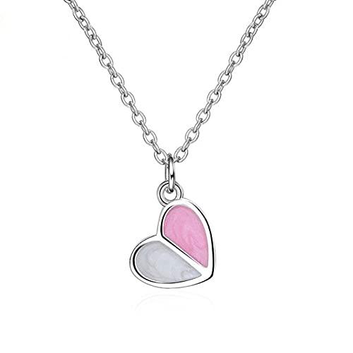 ZIYUYANG Colgante de collar, Collar de plata esterlina Cadena de corazón de helado