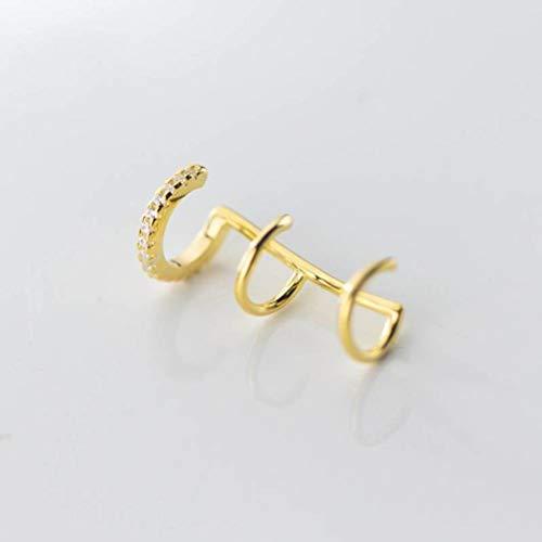 WOZUIMEI S925 Clip de Hongo Blanco Femenino Espiral Coreano Clip de Oreja Irregular Temperamento Pendientes de Diamantes Geniales sin Agujeros para Las Orejasoro