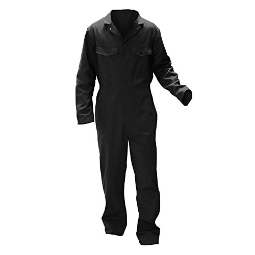 Warrior - Mono de Trabajo Botones Hombre/Caballero - Ropa de Trabajo (Grande (L)- Large) (Negro)