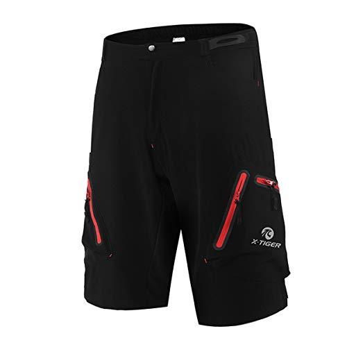X-TIGER Pantaloncini da Montagna MTB Uomo e Donna, Pantaloncini Ciclismo Biciclette, Bici MTB Pantaloni Traspirante Shorts per Ciclismo da Corsa All'aperto (Nero + Rosso, XXL)