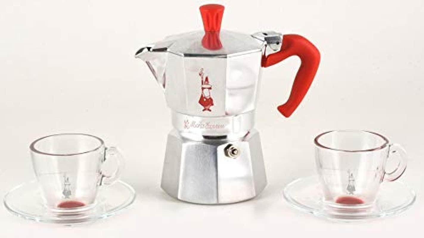 Bialetti MOKA Express 3 Cups 2 Espresso Glass Cups