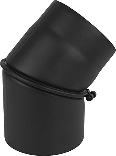 rg-vertrieb Ofenrohr Knie Winkel Bogen 0-45° verstellbar Stahlrohr Abgasrohr Senotherm Schwarz 2mm Heizung Rauchrohrbogen (180mm)