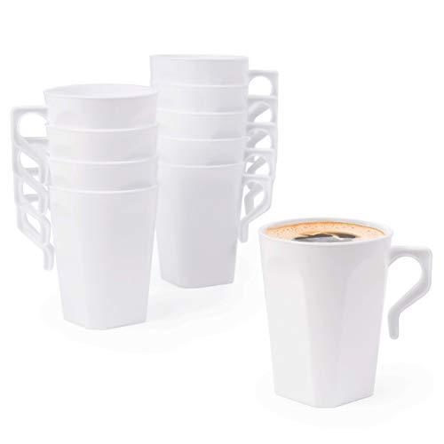 Matana 50 Tazas de Café de Plástico Duro Blanco, 255ml - Reutilizable