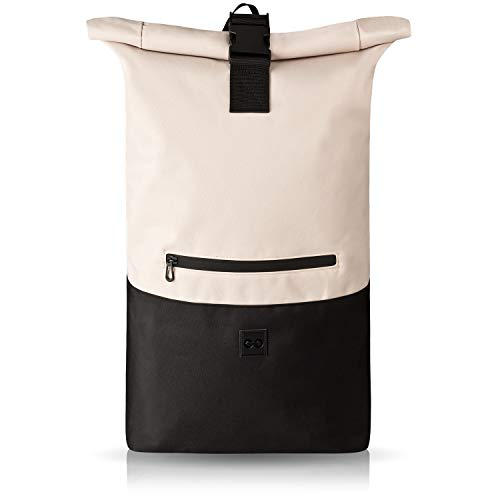 URBAN ZWEIRAD Roll-Top Rucksack 35l - Lifestyle Rucksack für Den Alltag - Wasserabweisend & Sehr Individuell Packbar - Damen & Herren (Creme)