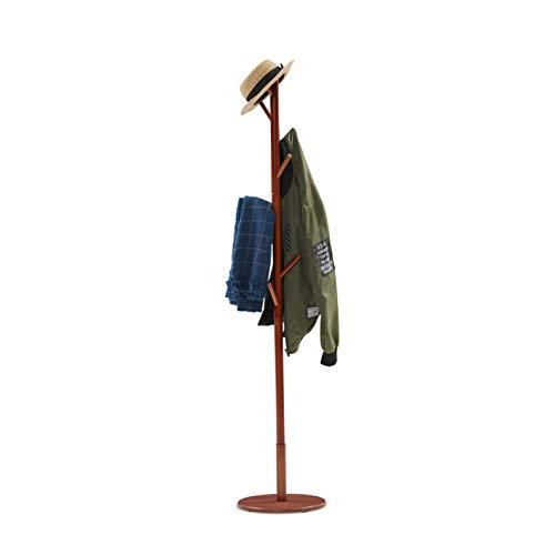 Sunon Perchero de madera maciza, estable, 8 ganchos, perchero independiente para dormitorio, salón, vestíbulo, 175 cm (alto), madera, Miel y marrón., 36 x 36 x 175 cm