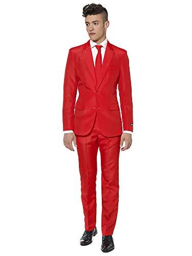 Suitmeister Anzüge für Herren - Mit Jackett, Hose und Krawatte mit Festlichen Print Solid Red - XL