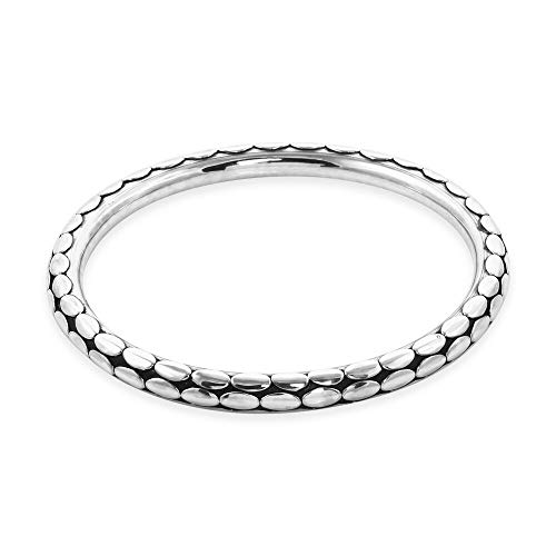 TJC Royal Bali Handmade Artisan Crafted 925 Sterling Silver Bangle for Women Size 8'