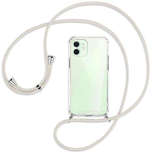 mtb more energy Crossbody Case for Apple iPhone 12, 12 Pro (6.1'') - broken white/gold - Neck-wearable protective cover - Smartphone Necklace Cord Strap Cover