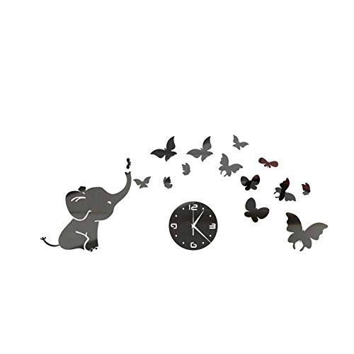Janly Clearance Sale Frameless DIY Wall Mute Clock 3D Mirror Surface Sticker Home Office Decor , Home Decor forHome & Garden , Easter St Patrick's Day Deal (Black)